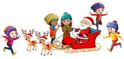 Père Noël et enfants sur fond blanc
