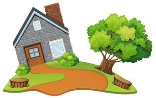 Une maison en pierre dans la nature vecteur