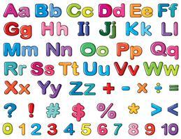 Alphabets et chiffres vecteur