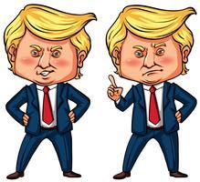 Le président Trump en deux actions vecteur