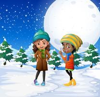 Scène avec deux filles dans le champ de neige vecteur