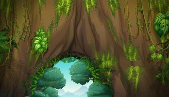 Scène de la nature avec des grottes et des arbres