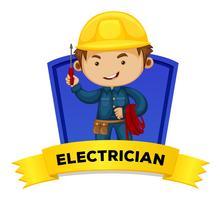 Métier wordcard avec mot électricien vecteur