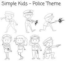 Doodle simple personnage de police