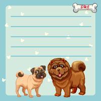 Papier avec deux chiens mignons vecteur