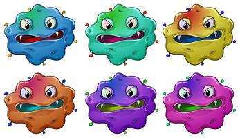 Six têtes de monstres en colère