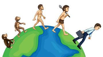 Evolution de l'homme sur la terre vecteur