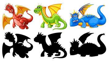 Ensemble de personnage de dragon vecteur