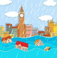 Une inondation dans la grande ville vecteur