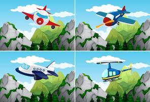 Avions et hélicoptère survolant les montagnes