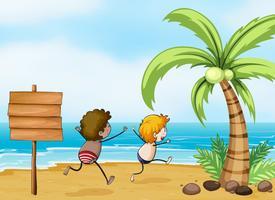 Enfants s'amusant à la plage