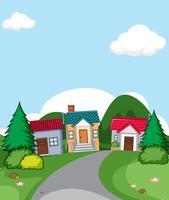 Une scène de village de maison rurale vecteur