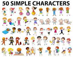 Cinquante personnages simples, jeunes et vieux vecteur