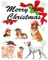 Modèle de carte de Noël avec des chiens mignons vecteur