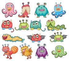 Monstres mignons et colorés vecteur