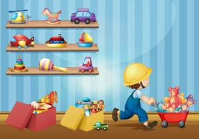 Garçon jouant avec des jouets dans la chambre
