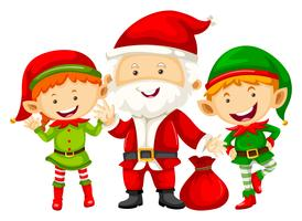 Père Noël et deux eleves avec sac rouge vecteur