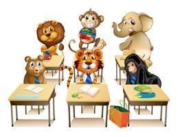 Animaux en classe vecteur