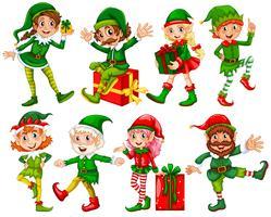 Elfe et cadeaux vecteur
