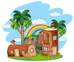 Rat la la maison en bois vecteur