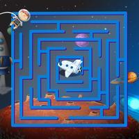 Un jeu de labyrinthe dans l'espace extérieur vecteur