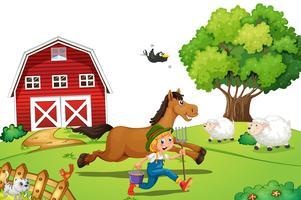 Fermier et cheval