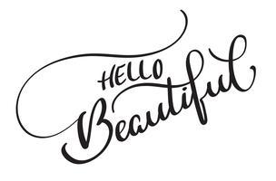 Bonjour beau texte vectoriel sur fond blanc. Illustration de lettrage de calligraphie EPS10