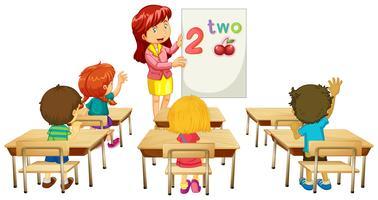 Professeur de mathématiques enseignant aux enfants en classe vecteur