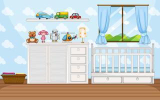 Scène de chambre avec babycrip blanc vecteur