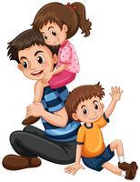 Père avec fille et fils vecteur