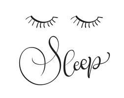 sommeil texte sur fond blanc. Calligraphie lettrage Illustration vectorielle EPS10 vecteur