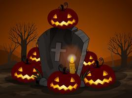 Une nuit d'halloween au cimetière vecteur