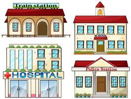 Une gare, une école, un commissariat de police et un hôpital vecteur