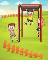 Trois enfants qui jouent dans le parc vecteur