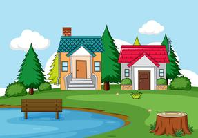 Scène de maison rurale simple vecteur