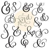 vector set Vintage signe Et esperluette sur fond blanc. Illustration de lettrage de calligraphie EPS10