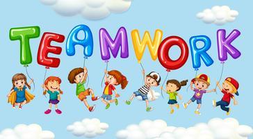 Enfants et ballons pour un travail d'équipe mot vecteur