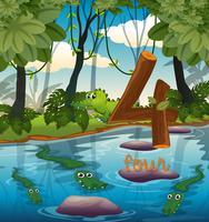 Quatre crocodiles dans l'étang