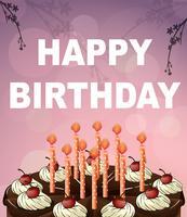 Modèle de carte d'anniversaire avec un gâteau au chocolat vecteur