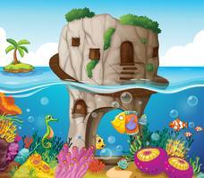 Grotte et océan vecteur
