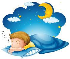 Garçon dormant sur une couverture bleue vecteur
