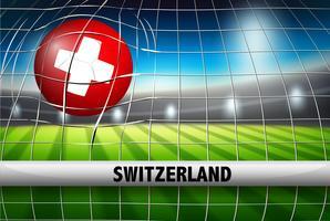 Un drapeau suisse sur un ballon de foot