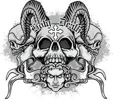armoiries crâne grunge vecteur