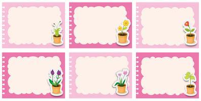 Étiquettes roses avec des pots de fleurs vecteur
