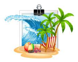 Thème de l'été au bord de la mer sur photoframe vecteur