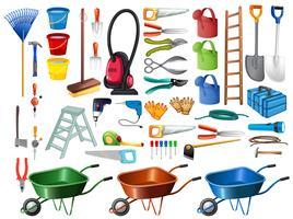 Différents outils ménagers et équipements