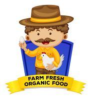 Carte de mots d'occupation avec des aliments biologiques frais de la ferme vecteur