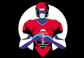 Héroïque, joueur football américain, plat, illustration vecteur