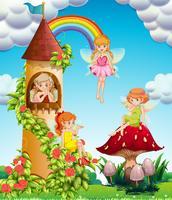 Quatre fées volant dans le jardin au moment de la journée vecteur