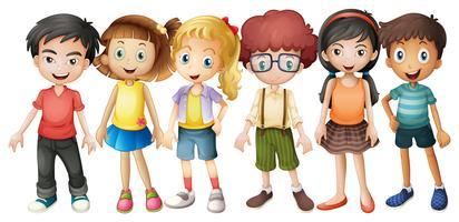 Garçons et filles debout dans un groupe vecteur